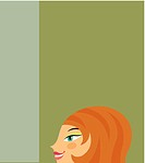 Redheaded woman on green background