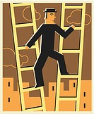 Man climbing two ladders