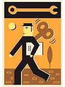 Illustration of a wind up businessman