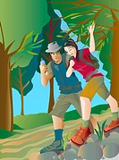 An illustration of a couple hiking together