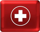 A red cross with red background