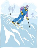 An illustration of a man skiing on snow covered mountains