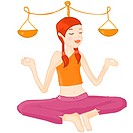 A Libra girl balancing the scale as she does yoga