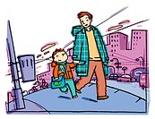 A picture of a father and son walking to school (thumbnail)