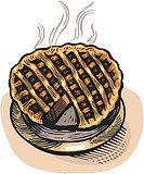 Cartoon drawing of a freshly baked pie