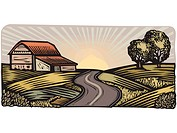 Rural scene with winding road and barn