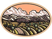Oval scene with rolling hills and mountains