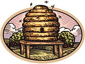 Drawing of a bee hive