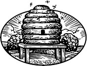 Drawing of a bee hive drawn in black and white