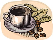 Cartoon illustration of a cup of coffee and coffee beans