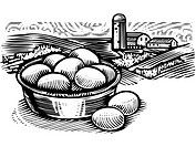 Basket of eggs in front of farm scene, black and white