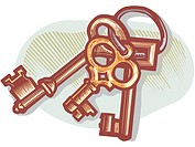 A drawing of a set of skeleton keys