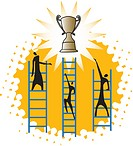 three people climbing up a ladder to reach a trophy