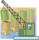 A illustration of a business development with a crane expanding the office blocks