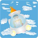 Two kids flying through clouds in a space ship
