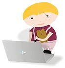 A toddler holding his softtoy and using a laptop