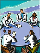 Doctors having a meeting at a board room table
