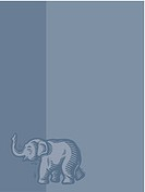 Elephant on blue background (thumbnail)
