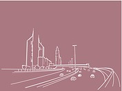 An illustration of a freeway