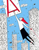 A woman swinging from the letter A