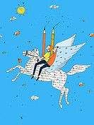 Two people holding pencils and riding a winged horse made of words (thumbnail)