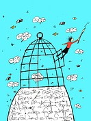 Writer flying out of a cage