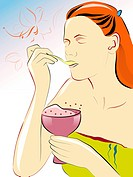 woman eating dessert