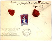 Vintage envelope with script writing and two red seals, Paris