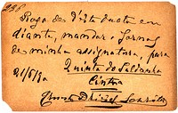 Vintage postcard with script writing, in Spanish