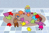 A group of kids putting together a puzzle