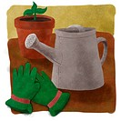 A picture of a watering can and gardening gloves