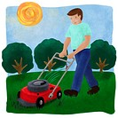 A man mowing the lawn with a lawnmower