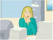 A woman overwhelmed by her workload