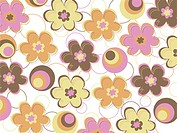 Illustrated abstract pattern with colorful flowers