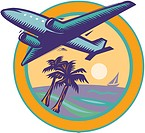Airplane flying over palm trees
