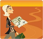 Woman travelling down a long road and using a map (thumbnail)