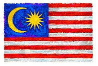 Drawing of the flag of Malaysia