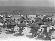 People relaxing on beach, (B&W), elevated view