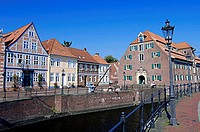 Houses, and, the, former, Swedish, provisions, storehouse, at, the, old, harbour, Stade, Lower, Saxony, Germany