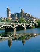 Cathedral, bridge and Tormes river. Salamanca. Spain