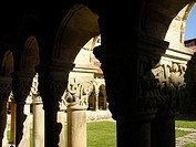 Romanesque Cloister In The Monastery La Colegiata Santillana Del Mar Cantabria Spain