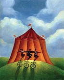 Three business people standing on unicycles in front of a circus tent
