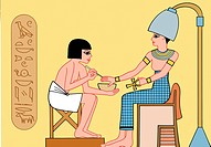 An ancient egyptian enjoying a manicure at a spa