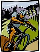 A man cycling on a mountain bike