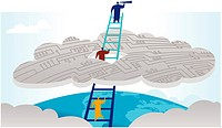People climbing a ladder through a cloud, with the leader looking through a telescope