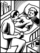 A doctor talking to a patient drawn in black and white