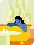 A woman having a relaxing bath