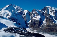 Alps, peaks, Engadin, Switzerland, peaks:, Piz, Bernina, with, Biancograt, Piz, Prievlus, and, Piz, Morteratsch, Graubunden