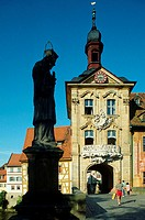 Nepomuk, Statue, at, bridge, over, river, Regnitz, to, the, old, cityhal, Bamberg, Bavaria, Germany