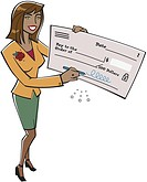 A businesswoman holding a large check